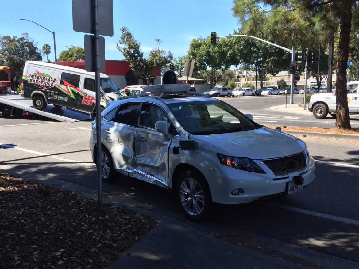 first accident of an autonomous car from Google